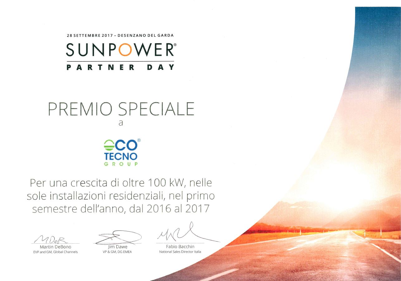 premio sunpower ecotecno group